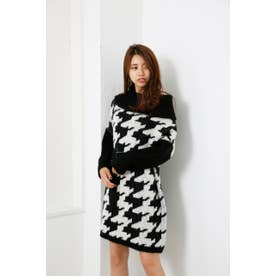 Off turtle Poncho Knit OP BLK