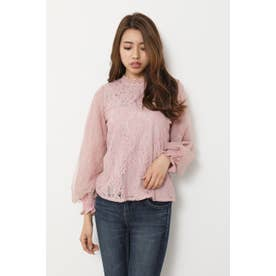 Lace on tulle SLV TOP L/PNK1