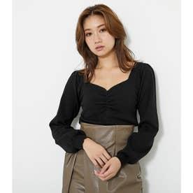 フロントギャザーロングSLV knit TOP (ブラック)