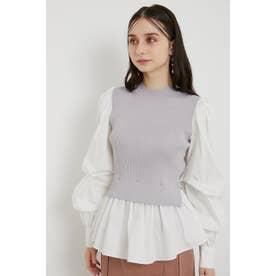 ニュアンスSLVシャツコンビKnit TOP (ライトグレー)