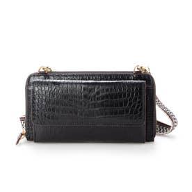 クロコダイルラウンドポシェット財布 (ブラック)