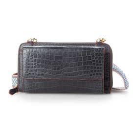 クロコダイルラウンドポシェット財布 (グレー)