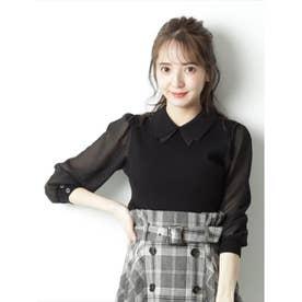 シフォン袖衿付ニット (ブラック)