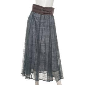 ベルト付幾何レーススカート (ダスティー)
