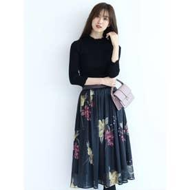 ベルト付きシアー大花スカート (チャコールグレー)