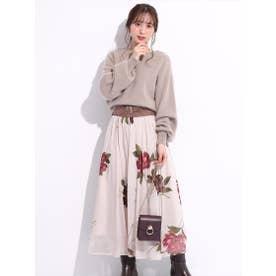 ベルト付きシアー大花スカート (モカピンク)