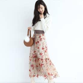 ベルト付チュール刺繍スカート (ベージュ)