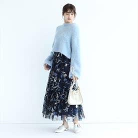 ベルト付チュール刺繍スカート (ネイビー)