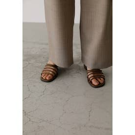 Round toe line sandal L/BRN1