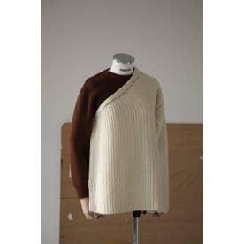 One-shoulder detail knit tops O/WHT1