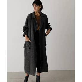 Wool linen maxi trench coat BLK