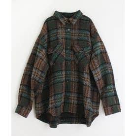 バルキーチェックシャツジャケット (グリーン)