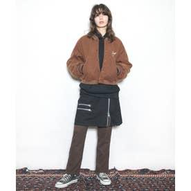 Zipミドル丈スカート (ブラック)