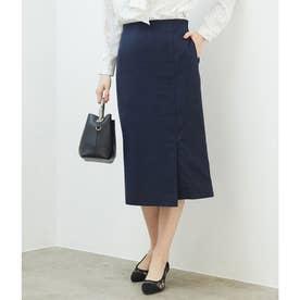 【セットアップ対応】麻調タックアイラインスカート (ネイビー(40))