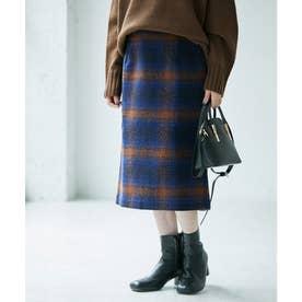 【WEB限定カラー:ベージュ】BIGチェックアイラインスカート (ブルー系(47))