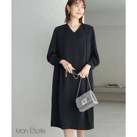 【一部店舗限定】【Mon E'toile】ジョーゼットタックドレス (ブラック(01))