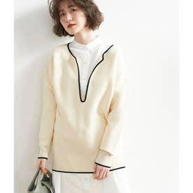 【セットアップ対応】配色入りガーター編みプルオーバー (オフホワイト(15))