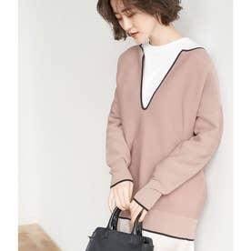 【セットアップ対応】配色入りガーター編みプルオーバー (キャメル(25))