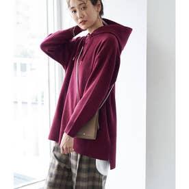 【リンクコーデ】スリットニットフーディー (ワイン(66))
