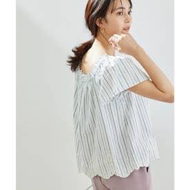 【2WAY】裾刺繍オフショルダーブラウス (ホワイト(10))