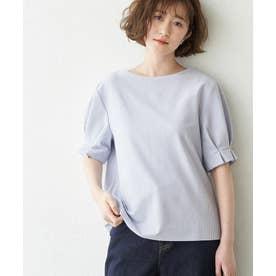 袖口タックサッカージャージトップス (サックス(48))