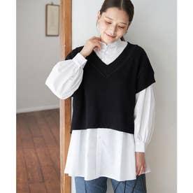 ベスト付レイヤードシャツ (ブラック(01))