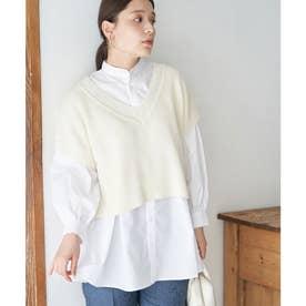 ベスト付レイヤードシャツ (ホワイト(10))