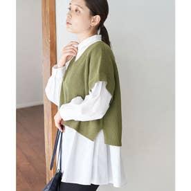ベスト付レイヤードシャツ (カーキ(36))
