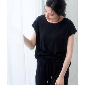 【セットアップ対応】ソフトリッチ天竺フレンチスリーブトップス (ブラック(01))