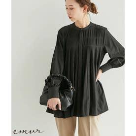 【emur】プリーツバンドカラーブラウス (ブラック(01))