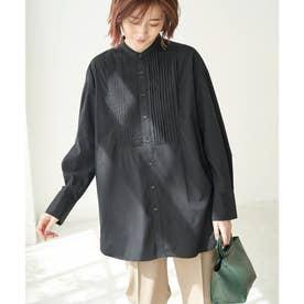 スタンドカラーピンタックチュニックシャツ (ブラック(01))
