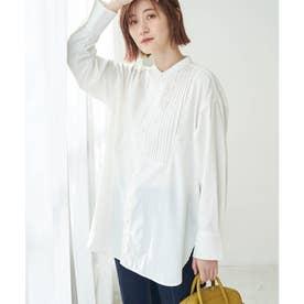 スタンドカラーピンタックチュニックシャツ (オフホワイト(15))