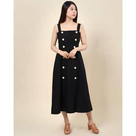 ダブルボタンフレアジャンパースカート (ブラック)