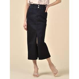 デニムロングタイトスカート (ブラック)