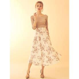 花柄フレアスカート (オフホワイト)