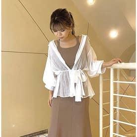 袖ボリュームシアーシャツ (オフホワイト)