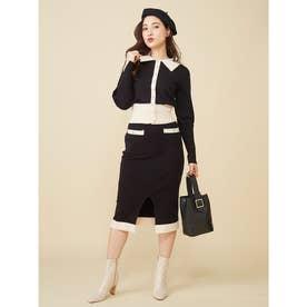 バイカラーニットタイトスカート (ブラック)