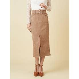 スウェードタイトスカート (キャメル)