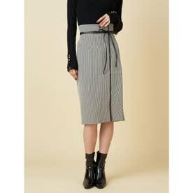 パイピングレザータイトスカート (ブラック)