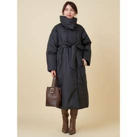 BIGカラー中綿ロングコート (ブラック)