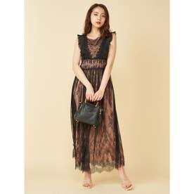 カラーレースドレス (ブラック)