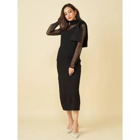BIGリボンワンショルジャンパースカート (ブラック)