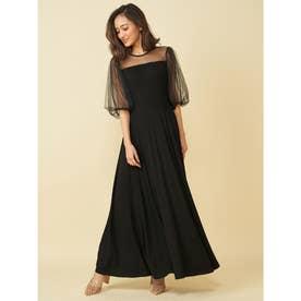 カップ付チュールドッキングカットドレス (ブラック)