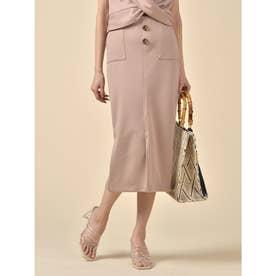 ボタン付カットタイトスカート (キャメル)