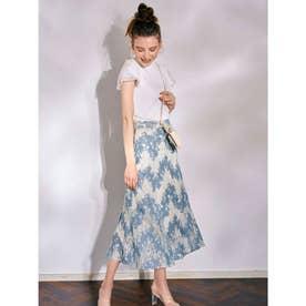 配色レーススカート (ブルー)