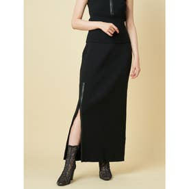 レザーZIPロングタイトスカート (ブラック)