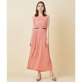 ベルト付きプリーツロングドレス (ピンク)