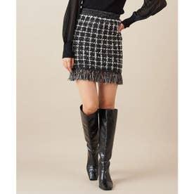 ラティスツィードミニスカート (ブラック)