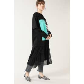 グラフィックレイヤードTシャツドレス ブラック