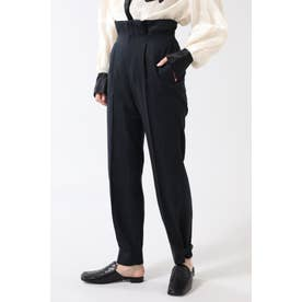 裾タックパンツ ブラック
